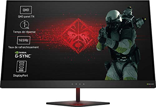 HP OMEN 27 (27 Zoll / QHD LED) Gaming Monitor (Nvidia G-Sync, HDMI, DisplayPort, 3 x USB 3.0, 1 x Audio Out, 2560 x 1440, 60 Hz, Reaktionszeit 1,8ms) schwarz