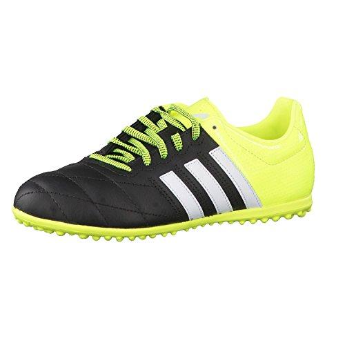 adidas Ace 15.3 Tf J Leather, Chaussures de Football Garçon Multicolore (Black / White / Yellow)