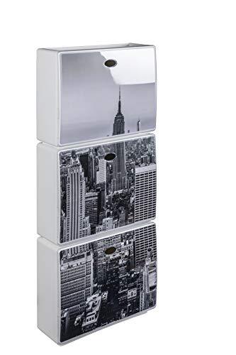 Kreher XL Schuhschrank 3tlg. aus Kunststoff New York City, glänzend. Kipper halten mit Magnet. Fasst ca. 9 Paar Schuhe. Maße ca. 51 x 17 x 118 cm.