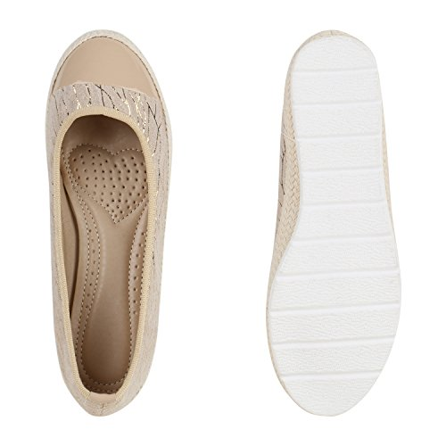 Damen Ballerinas Freizeit Slipper Bast Lack Profilsohle Flats Creme Kappe