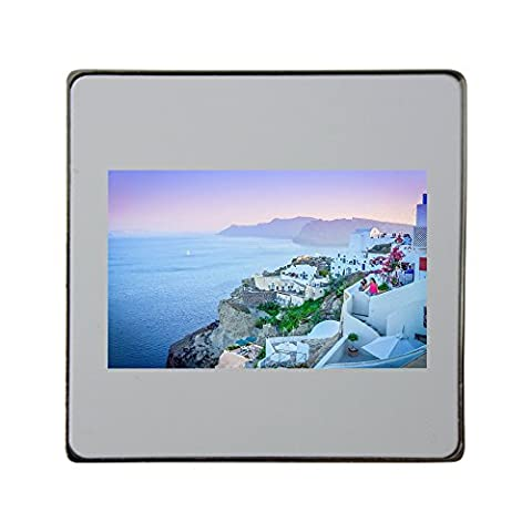 Oia, Santorini, Greece, Sunset, Island metal square fridge magnet