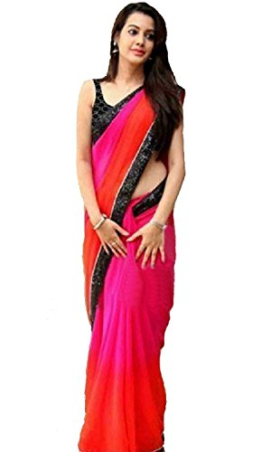 Ramapir Collection Women's Georgette Saree With Blouse Piece (Tsbn_S-04 Rainbow Saree_Pink & Orange)  available at amazon for Rs.698