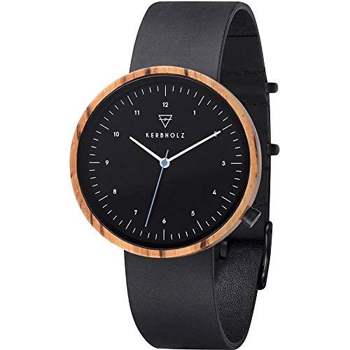 Kerbholz Herren Analog Quarz Uhr mit Leder Armband 4251240407548