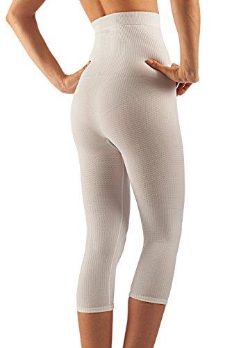 FarmaCell 123 guaina massaggiante vita alta sotto ginocchio calzoncino dimagrante Bianco