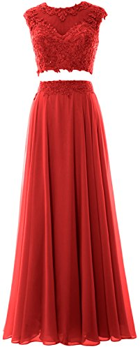 MACloth Women 2 Piece Long Prom Dress Lace Chiffon Formal Party Evening Gown Rot