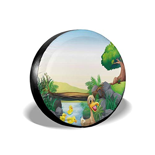 ErwangGo Tire Cover Wheel Covers,Cartoon Mother and Ducklings River Kids Fun Farm Animals Print Outdoor Feathers,for SUV Truck Camper Travel Trailer Accessories(14,15,16,17 Inch) 17 -
