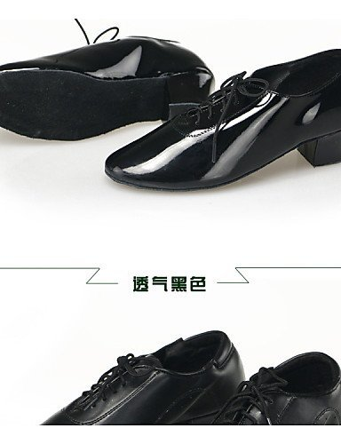 ShangYi Non Customizable Men's/Kids' Dance Shoes Modern Leatherette Low Heel Black Black