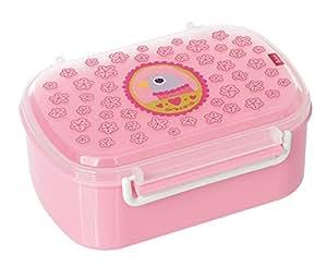 sigikid, Mädchen, Brotdose mit rosa Vogel-Druck, Brotzeitbox Finky Pinky, Rosa, 24776