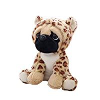 ZJL220 Large Plush Toys Pug Dog In 6 Costumes Cuddly Soft Toy Girl Kids Gift Leopard print