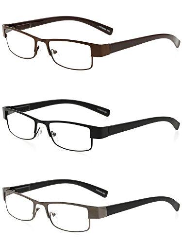 VEVESMUNDO Lesebrillen Lesehilfe Herren Damen Klassische Metall Vollrand Lesebrille Augenoptik Klar Sehhilfe Arbeitsplatzbrille Sehstärke