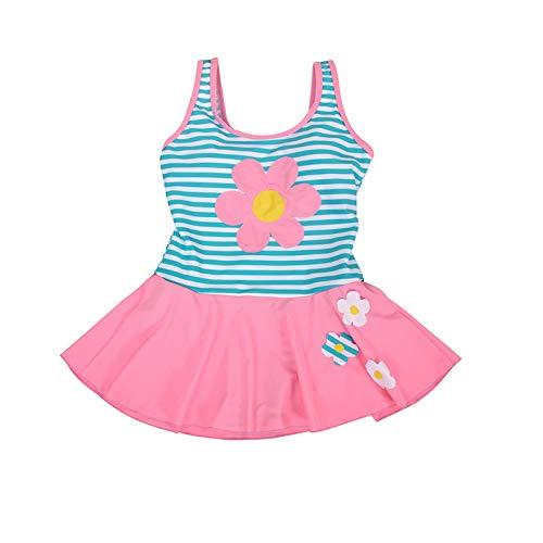 Kostüm Tag Alten Schwimmen - HLXXX Einteiliges Kleid der Mädchen Netter Blume Halterbadeanzug buntes Schwimmen-Kostüm-Badeanzug-Alter 4-15Years,Pink-116