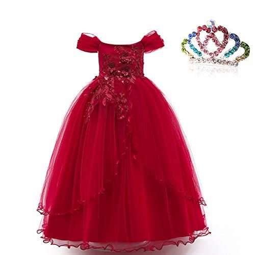 XXIE Mädchen Kleid Langes Prinzessin Kleid Rüschen Party Brautkleider Spitze Festzug Ballkleid, Burgunder Rot 150cm -