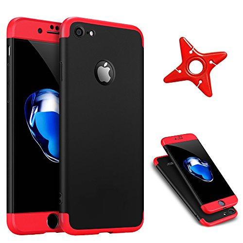 Ultra Slim Thin Custodia per iPhone 7Plus, MAOOY Luxury Hybrid 3in1 Hard PC Plastic Back Case con Utilizzo Completo per iPhone 7 Plus, Antiurto Antipolvere Antigraffio Ultra Protettiva per iPhone 7Plu Red and Black 2