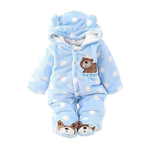 Baby Overall Baywell Lange Ärmel Bär Muster Unisex Warme Hoodie Strampler Onesie mit Punkte (Blau1, S/0-3 Monate) (Bär Strampler)