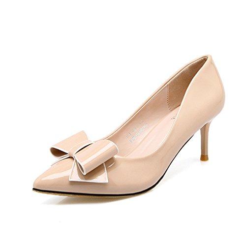 Elegantes Senhoras Damasco Das slides Sapatos Pontudos De Stilettos Couro Arco Anti Doce Toe Com Deslizamento Bombas Hv15xnWqq