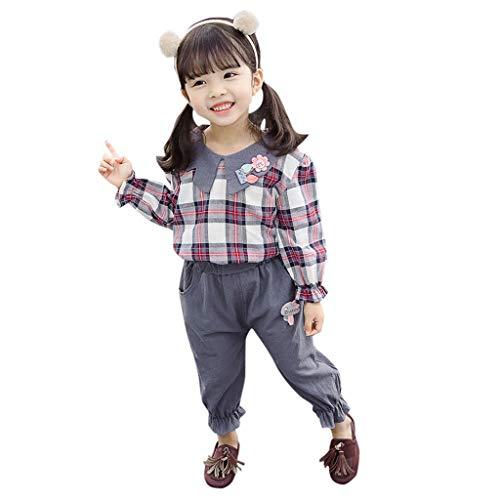 Cuteelf Mädchen passt Kleinkind Kinder Baby Mädchen Kariertes Hemd Pluderhosen Kleidung Mädchen Kariertes langärmeliges Hemd + einfarbige Trägerhose Zweiteiliger Anzug Korean süß