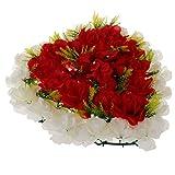 FLAMEER Herzform Blumenkranz Grabdekoration Grabschmuck Grabgesteck für Trauer und Gedenken - Rot