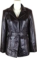 UNICORN Womens Long Coat Real Leather Jacket Brown #O5