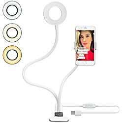 Support Téléphone avec Selfie Ring Light,le Flux en Direct et le Maquillage [10-Niveau Luminosité] [3-Mode d'Éclairage] Réglable Lampes Phone Accessoires (Blanc)Support Paresseux pour Mobile