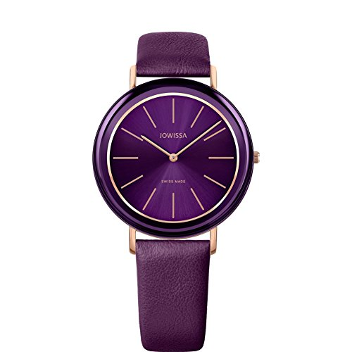 JOWISSA Women's Alto 39MM Purple Leather Band Quartz Analog Watch J4.380.L