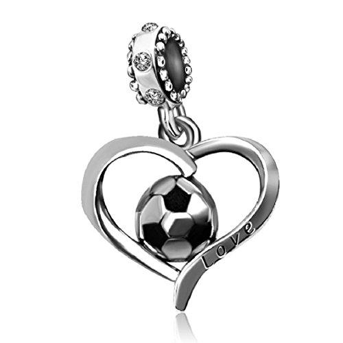 Kunbead gioielli cuore calcio ciondoli da calcio fifa world cup sport 2colori perline per braccialetti e rame, colore: april birthstone, cod. ukkunc-07604