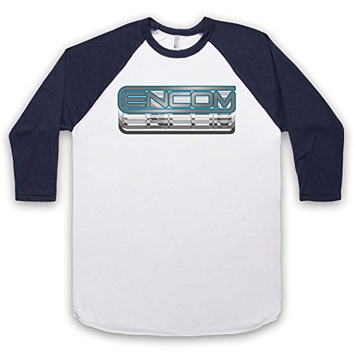 Inspiriert durch Tron Encom Logo Unofficial 3/4 Hulse Retro Baseball T-Shirt Weis & Ultramarinblau