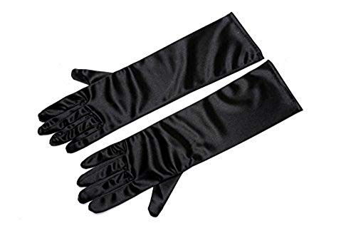 guanti raso Utopiat guanti corti neri in raso donna ispirati allo stile audrey hepburn (sotto il gomito)