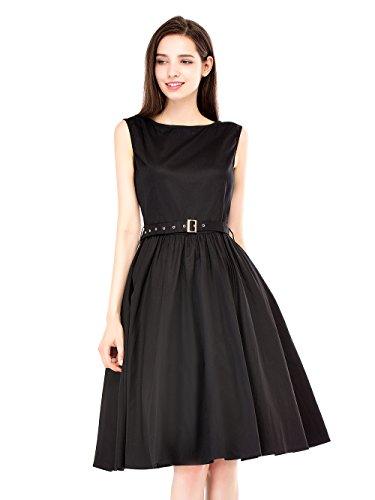 EnjoyBridal®Chic Vintage Année 50 Sans Manche 50 Rockabilly Swing 1950s Audrey Hepburn Robe de Soirée/Cérémonie Noir