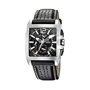 Festina - F16363-6 - Montre Homme - Quartz Chronographe - Cadran Noir - Bracelet Cuir Noir