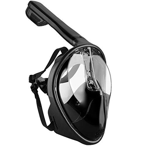 Tauchmaske, OMorc Seaview 180 ° Easybreath Schnorchelmaske für Erwachsene und Jugendliche, Revolutionäre voll trockenen Tauchermaske mit Anti-Fog-und Anti-Leak-Technologie, verhindert Gag Reflex mit Tubeless Design (L/XL)