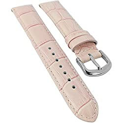Louisiana Print Replacement Watch Strap 14 mm - 22 mm/Leather Pink, with Seam 30115, Width: 18 mm, Clasp: Silver