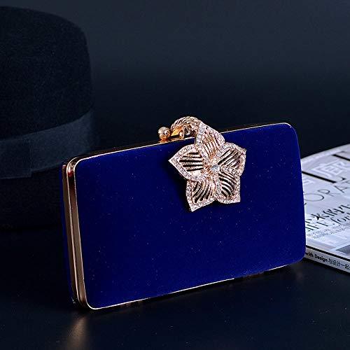 MNLSWYB Damen Clutch ,Vintage Diamant Blume Samt Kleidertasche, blau Abendtasche Elegante Handtasche (Gefütterte Clutch Vintage)