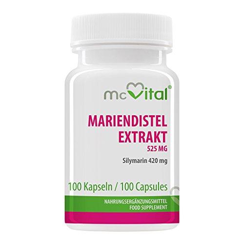 Mariendistel Extrakt 525 mg - Silymarin 420 mg - Fördert Regenerationsfähigkeit und Funktion der Leber - 100 Kapseln