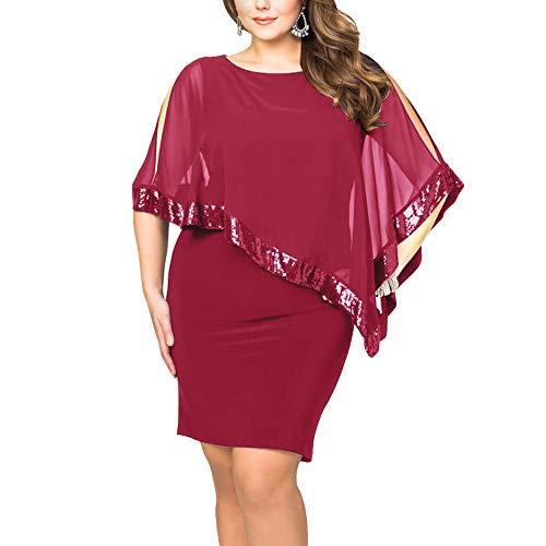 Ancapelion Damen Kleid Ärmellos Minikleid Chiffon Cocktailkleid Pailletten Pencil Partykleid Lässige Kleidung Abendkleid Frauenkleid Kleid für Frauen, Rot-Übergröße, 4XL(EU 56-58)