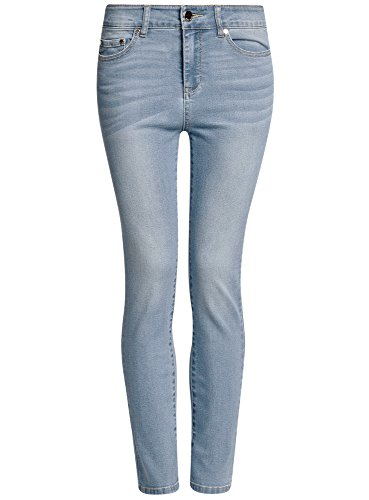 oodji Ultra Damen Skinny Jeans mit Hohem Bund Blau (7000W)