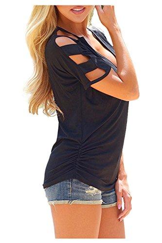 Beaii Damen Sommer V-Ausschnitt Kurzarm hohle Hülse beiläufige T Shirt Tops Schwarz