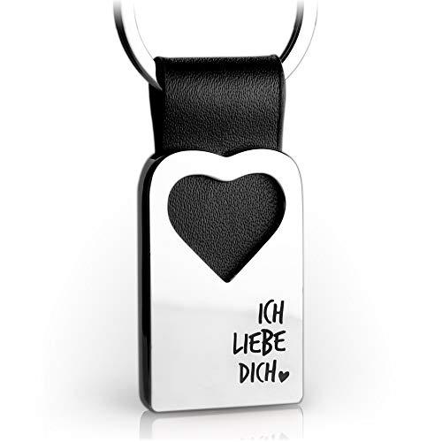 Herz Schlüsselanhänger mit Gravur aus Leder - Partner Glücksbringer Anhänger für Ihren Lieblingsmensch - Ich liebe dich - FABACH Spirituals™
