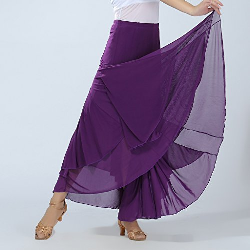 Homyl Abbigliamento Elastico in Vita Gonna a Maglia Lunga Swing Gonna per Salsa, Tango, Cha Cha, Flamenco, Sala da Ballo Viola