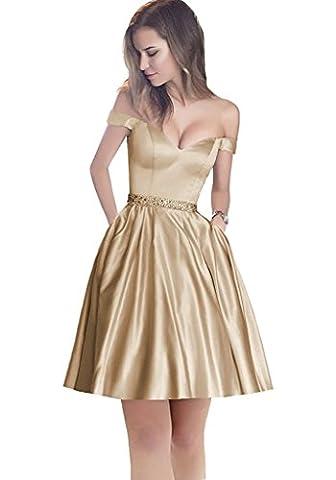 HotGirls Off The Shoulder Beaded Satin Evening Robe de bal avec poche (44, court Champagne)