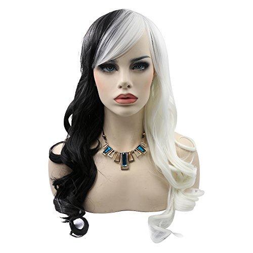 Kalyss Schwarz Weiß Lang Lockige Synthetic Perücke Cosplay Karneval Kostüm-Perücke Kinky Curly Hair Wigs Für Frauen