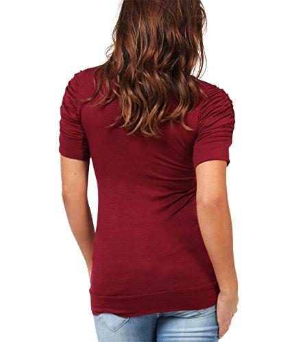 KRISP® Damen Shirt mit Gerafften Ärmeln Weinrot (3900)