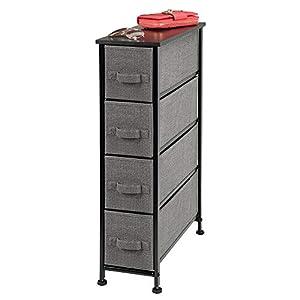 mDesign Kommode aus Stoff - praktischer Schrank Organizer mit 4 Schubladen - schmales Aufbewahrungssystem für Schlafzimmer, Schlafsaal und Waschküche - anthrazit