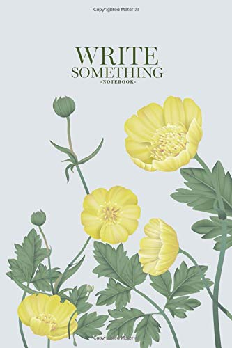 Pastel Yellow Label (Notebook - Write something: Yellow creeping buttercup flowers in light blue rectangle on white background, pastel vintage notebook, Daily Journal, ... College Ruled Paper, 6 x 9 inches (100sheets))