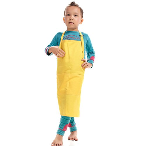 LissomPlume Kind Malschürze Kunstkittel Kinderschürze Arbeitsschürze Painting Bastelschürze Werkenschürze - gelb