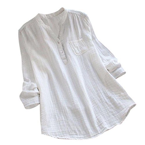 YEBIRAL Damen Bluse Lose Einfarbig Große Größen V-Ausschnit Langarm Leinen Lässige Tops T-Shirt Bluse S-5XL(EU-44/CN-2XL,Weiß) -
