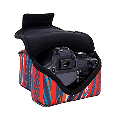 Sleeve Case For DSLR Digital Camera with Neoprene Construction , Storage for Accessories & Strap Openings by USA GEAR - For Canon EOS 1300D , 1200D , 750D , 700D / Nikon D3300 , D3400 , D5300 / Pentax & More -