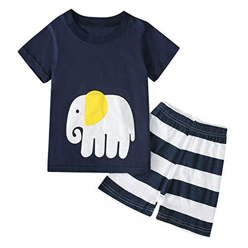 Cuteelf Baby Set Kinderbekleidung Junge Kurzarm Cartoon Print T-Shirt Tops + Shorts Pyjamas Set Kinderbekleidung Kurzarm Cartoon Print Tops Shorts Home Wear Pyjamas Set