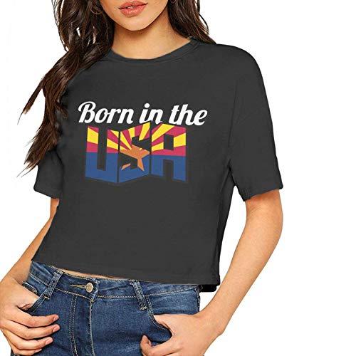 Frauen Sexy Kurzarm T-Shirt Arizona Geboren in den USA Gedruckt Casual Sommer Tees Bluse Tops Nabel (Klein, Schwarz) - Cowl Neck Cream