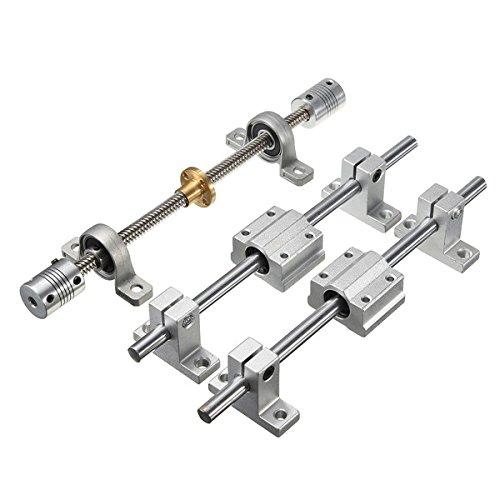 wishfive 15Stück 300mm optischen Achse Führungslager, Gehäuse Aluminium Schiene Schaft Support Schrauben Set CNC Teile