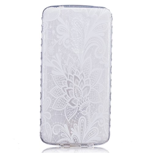 Price comparison product image For LG K7 Case, LG K8 Case [With Tempered Glass Screen Protector],idatog(TM) Soft Silicone Bumper Ultra Thin Slim Flexible Cover Case ,High Quality TPU with Colorful Cute Printed Pattern Fashion Design Protective Back Rubber Case Cover Shell Perfect Fitted For LG K7/K8 (White rose)